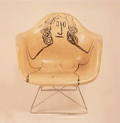 Eames molded chair with drawing by Saul Steinberg. Saul Steinberg, The New Yorker, Blog Art, Charles & Ray Eames, Take A Seat, Decoration, Interior Inspiration, Furniture Design, Painted Furniture
