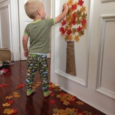 Easy Fall Tree Activity for Toddlers We love creating sticky walls and using contact paper for crafting. Today we are sharing a super easy Fall tree activity for toddlers th. Fall Activities For Toddlers, Thanksgiving Crafts For Toddlers, Quiet Time Activities, Halloween Crafts For Kids, Autumn Activities, Preschool Activities, Weekend Activities, Diy Thanksgiving, Holiday Crafts