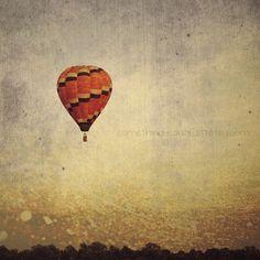 Vintage Hot Air Balloon Art - Home Decor - Art Print Hot Air Balloon 5x5 print. $12.50, via Etsy.
