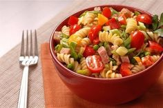 Italian salad with cheese and pasta