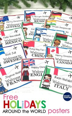 FREE Holidays Around the World posters with lots of  Christmas activities and teaching ideas perfect for classroom teachers and homeschool parents. Perfect to add to your 2nd and 3rd grade social studies and December Christmas activities. See how I make learning about holidays around the world magical for my students!
