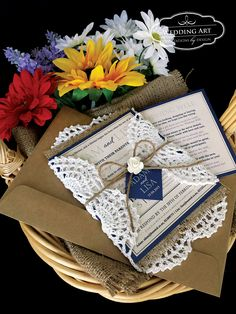 Vintage/rustic wedding invitation with crochet doily, hessian/burlap, twine, tag and a paper rose. www.weddingart.co.nz