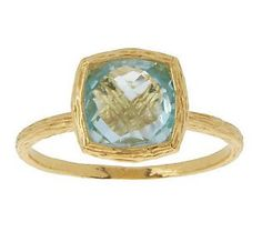 Veronese 18K Clad Cushion Cut Faceted Gemstone Ring