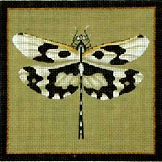 Melissa Shirley Designs | Hand Painted Needlepoint | Black Patterned Dragonfly
