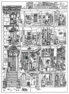 from Saul Steinberg, The Art of Living (one of Perec's influences)