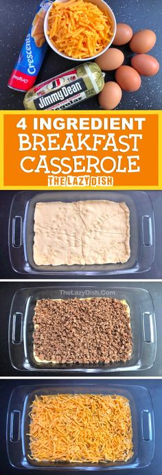 4 Ingredient Sausage Breakfast Casserole – Looking for quick and easy breakfast ideas? The entire family will love this one! Even the kids. It's made with cheap and simple ingredients: sausage, eggs, cheese and crescent dough. The Lazy Dish – Breakfast Bon Dessert, Breakfast Casserole Sausage, Easy Breakfast Casserole Recipes, Breakfast Cassarole, Cheap Casserole Recipes, Christmas Breakfast Casserole, Hamburger Casserole, Chicken Casserole, Casserole Dishes