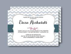Chevron Band Gray Bridal Shower Invitation