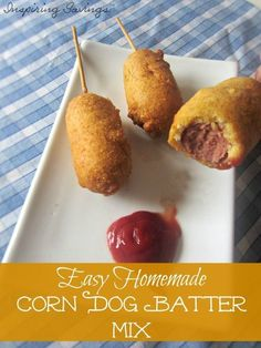 Time to skip the store-bought snacks in favor of an easy batter recipe for homemade corn dogs. This homemade Corn Dog Batter Mix Recipe will literally take just minutes to make! Your kids will thank you. Corn Dog Batter, Batter Mix, Corndog Batter Recipe, Game Day Appetizers, Fast Dinner Recipes, Food To Make, Food And Drink, Yummy Food, Yummy Snacks
