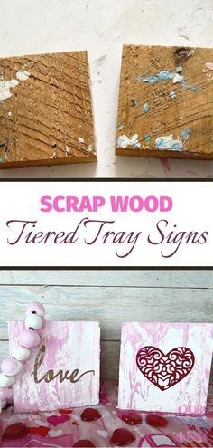 Learn how to make inexpensive scrap wood signs perfect for tiered tray decor. They use a paint pour technique from @decoartinc that you can use in any color, for any season or holiday. #ourcraftymom #decoartmedia #paintpour #tieredtraydecor #diywoodsigns #smallwoodsigns Crafts To Make, Fun Crafts, Crafts For Kids, Diy Craft Projects, Wood Projects, Diy Wood Signs, Valentine's Day Diy, Vintage Valentines, Tray Decor