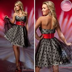 sweetheart little dot and big dot accented with red sash black and red tulle homcoming dress 2012