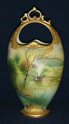 Nippon Vase. Antique Vases, Vintage Vases, Antique China, Vintage China, Porcelain Ceramics, China Porcelain, Ceramic Art, Rose Vase, Japanese Porcelain