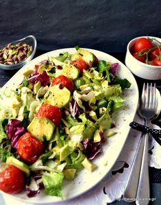 Green avocado salad with roasted cherry tomatoes
