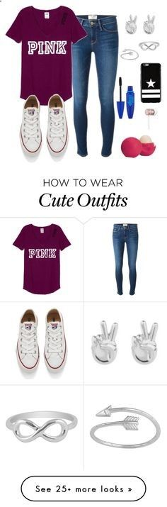 Cute School Outfit by emmakfashion on Polyvore featuring Frame Denim, Converse, Rock N Rose, Jewel Exclusive, Maybelline, Eos, Givenchy, Beats by Dr. Dre, casual and school