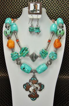 TURQUOISE / ORANGE Cowgirl Necklace by CayaCowgirlCreations, $57.50