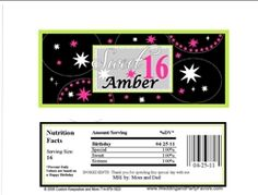 Birthday Candy Bar wrappers - Sweet Sixteen