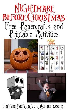Nightmare before Christmas free papercrafts printable activities and games