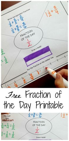 GREAT FOR DWU! Do you have students that struggle with fractions? Try out this daily fraction printable to build their fraction knowledge. Works on equivalent fractions, creating equations using fractions, number lines with fractions, and fraction models. 3rd Grade Fractions, Teaching Fractions, Fifth Grade Math, Math Fractions, Teaching Math, Equivalent Fractions, Dividing Fractions, Fractions Decimals And Percentages, Operations With Fractions