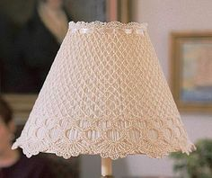 Lace Lampshade, Crochet Lampshade, Lampshades, Macrame Patterns, Crochet Patterns, Recover Lamp Shades, Shabby Chic Lamps, Crochet Wall Hangings, Crochet Mask