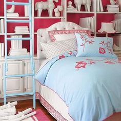 love the color scheme...bookshelves on wall...great for storage in a small room.