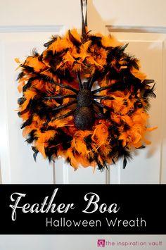 Feather Boa Halloween Wreath Craft Tutorial