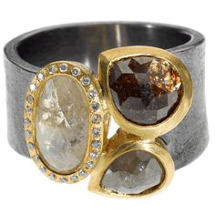 Todd Reed | 18ky gold and sterling silver with patina, fancy cut diamonds (2.4ctw) and white brilliant cut diamonds (.12ctw) | Max's