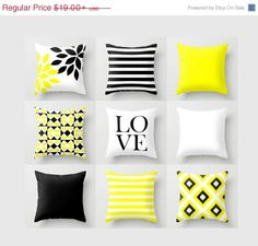 SALE Throw Pillow Black Yellow White Stripes by HLBhomedesigns