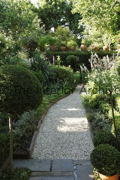 A gravel path winds its way between the flowerbeds towards a wall topped with a row of plants in terracotta pots