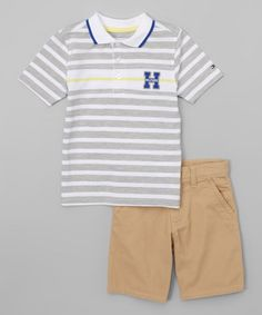 Look what I found on #zulily! Gray & White Stripe Polo & Shorts - Infant, Toddler & Boys #zulilyfinds