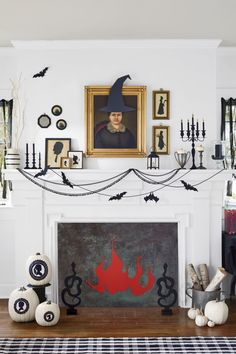 "Adorn old portraits and silhouettes with witch hats, pitchforks and scythes, fangs, and devil horns. Detailed cutouts of candelabras and sticks, ""lit"" with gold flames, give a mantel faux glow. Trick out the perfect mantel decor with paper bats attached to swoops of black sewing trimming with black upholstery tacks. Finally, line the opening of your fireplace with paper or painted wood, and attach a roaring red paper glow. Cut snake andirons from black foam core and glue to painted ..."