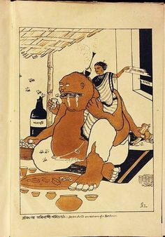 'Imperishable sacredness of a brahmin' from ' Realm of the Absurd' by Gaganendranath Tagore. Following the Partition of Bengal in 1905 and the rising fervor of the freedom movement that began to politicize the intellectual elite, Tagore's cartoons and illustrations found their way into newspapers, magazines, and books between 1916 and 1930.