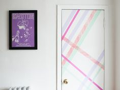 Jazz up a plain dorm room door with washi tape.>> www.hgtv.com/handmade/10-ways-to-transform-your-space-with-washi-tape/pictures/page-3.html?soc=pinterest