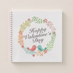 #Simple Valentine's Day Floral Wreath Notebook - #floral #gifts #flower #flowers