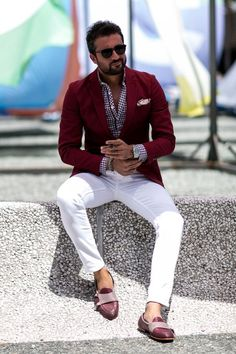 Such a fresh combination. Burgundy blazer for men and white pants