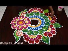 Sankranthi Special Rangoli and kolam Designs by Dheepiika // Sankranthi Muggulu Simple Rangoli Border Designs, Rangoli Designs Latest, Rangoli Designs Flower, Free Hand Rangoli Design, Small Rangoli Design, Rangoli Designs Images, Rangoli Ideas, Rangoli Designs With Dots, Rangoli Designs Diwali
