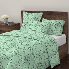 Wyandotte Duvet Cover featuring vines2-green by katawampus | Roostery Home Decor