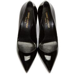 Saint Laurent Black Leather Paris Skinny Pumps ($525) ❤ liked on Polyvore featuring shoes, pumps, black shoes, leather pointy toe pumps, pointy toe shoes, leather pumps and kohl shoes