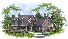 Plan Stone and Shaker Siding French Country House Plans, European House Plans, Shaker Siding, 3 Season Porch, Built In Bookcase, Bookcases, Residential Architect, Cottage Plan, Large Bathrooms