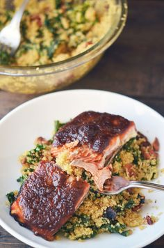 Asian Apple Glazed Salmon with Kale Quinoa | Here Are 26 Delicious Ways To Eat Kale For Dinner