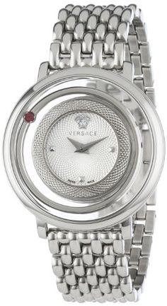 Women's Wrist Watches - Versace Womens VFH010013 Venus Round Stainless Steel Red Genuine Topaz Watch *** Check out the image by visiting the link.