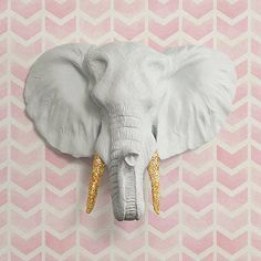 Wall Charmers Elephant in White + Gold Glitter Faux Head Fake Taxidermy Animal