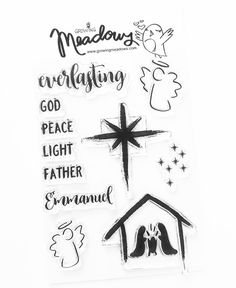 Everlasting Christmas Stamp Set Faith Christian by Growing Meadows etsy nativity star everlasting emmanuel angel Bible Journaling Christian Stamps Scrapbooking Art Stamping Technique Tai Bender
