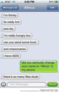 Texts from Africa… Bahahaha  This is great!
