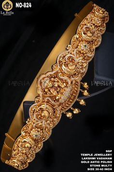 Vanki Designs Jewellery, Jewelry Design Earrings, Gold Earrings Designs, Gold Jewellery Design, Vaddanam Designs, Gold Jewelry, Diamond Jewellery, Jewelery, Indian Wedding Jewelry