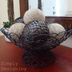 DIY decorative balls: tack ball, made with styrofoam ball and thumbtacks or twine