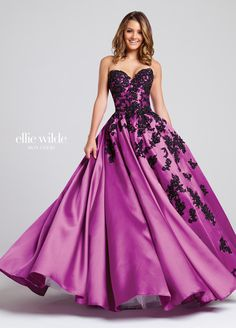 EW117038 - Strapless Mikado ball gown with sweetheart neckline, contrasting asymmetrically embroidered appliqués, side pockets. Removable straps included. Ellie Wilde by Mon Cheri Prom - Estelle's Dressy Dresses in Farmingdale , NY - Prom 2017 - Prom dresses