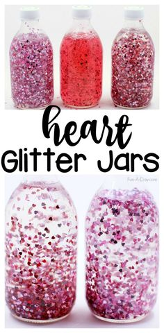 Gorgeous heart glitter jars that are easy to make with the kids. Two ways to make these floating heart calming sensory bottles.