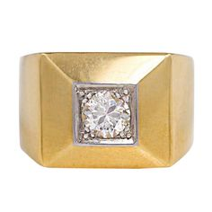 1930s Boivin Diamond Gold Ring, A square gold and diamond ring with mitered corners, in 18k gold and platinum. Rene Boivin. France circa 1935. 1stdibs.com.