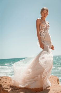"""Beautiful """"Ariel"""" gown from our S/S 2021 bridal collection. We invite you all to see the entire new collection in our website: www.ohadkrief.com Couture Wedding Gowns, Wedding Dresses, Young Fashion, Bridal Collection, Ariel, Evening Gowns, Invite, Website, Inspiration"""