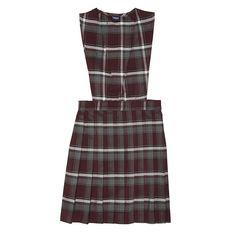 Royal Park Uniforms Girls Maroon Gray Plaid Pleated Jumper Dress