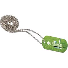 """Stand at attention to these stylish products! Our designer dog tag is made of anodized aluminum and features a 23 3/4"""" chain that is bagged separately. Can be customized with a full color process over the whole surface of the tag."""
